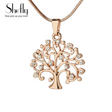 Tree Of Life Pendant Necklace Women Jewelry Fashion 2017 Crystal Silver Rose Gold Color Statement Necklaces & Pendants XL-0136(China)