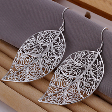 Buy Earrings silver plated earrings silver fashion jewelry earrings hanging tree leaf jewelry wholesale free ssba LE128 for $1.25 in AliExpress store