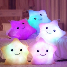 Hot new 35*38cm Kawaii Star Pillow Color Change Luminous Pillow with Led Light Soft Stuffed Plush toys for Children gifts