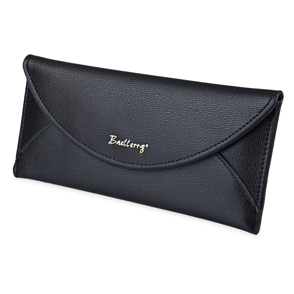 Black Solid Color Hasp Women Long Wallet Fashion Hasp Leather Money Bag Thin Envelop Purse for Ladies Casual Credit Card Bags<br><br>Aliexpress