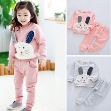 2017 Autumn Children Girls Cartoon Bunny Rabbit Clothing Set Baby Girls Clothes Suits Tops Shirts Pants
