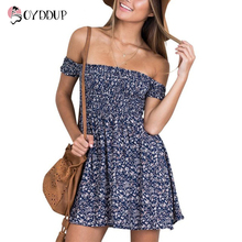2017 Women Dresses Casual print small floral dress off the shoulder Sexy Elastic band High Waist Summer mini Vestidos