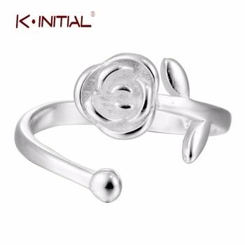 1Pcs 2017 New 925 Silver Flowers Rings Rose Flower Ring for Valentine