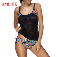 Buy UMLIFE 2017 New Plus Size Swimwear Women Swimsuit Sexy Tankini Retro Vintage Print Bathing Suit Swim Summer Beach Wear 3XL