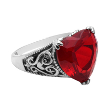 Szjinao Fine Jewelry Heart Love Nice Red Cubic Zirconia Stones 925 Sterling Silver Rings For Women Wedding Luxury Jewellery Gift