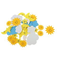 New Hot 30Pcs Foam Sun Clouds Moon Mixed Self Adhesive Sticker for Kids Crafting Scrapbooking Home Window Door Phone Decoration