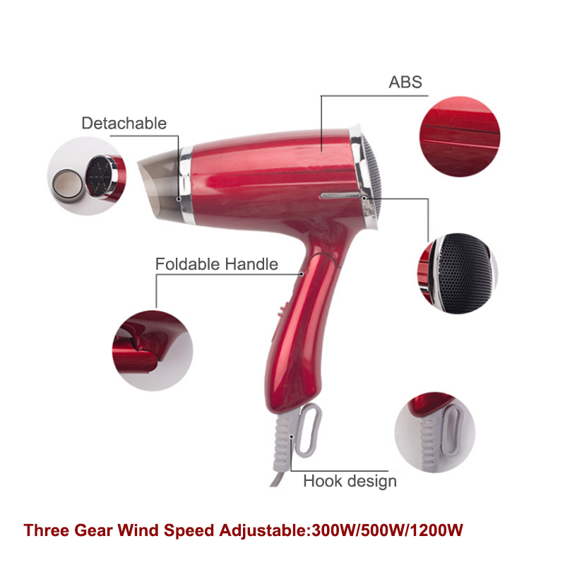 Hair Dryer Foldable Bandle Blow Salon Equipment Low Noise Powerful Blower Dryer HotCold Air Suszarka Hair Professional Styling (5)