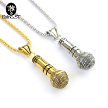 Fine Quality Men Women Microphone Pendant Necklace Punk Voice Of US  Necklaces Jewelry Hip hop 2 Color best friend Jewelry gift
