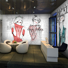beibehang PVC English graffiti girl fashion perfume shop mall clothing store large mural wallpaper Restaurants Custom sizes