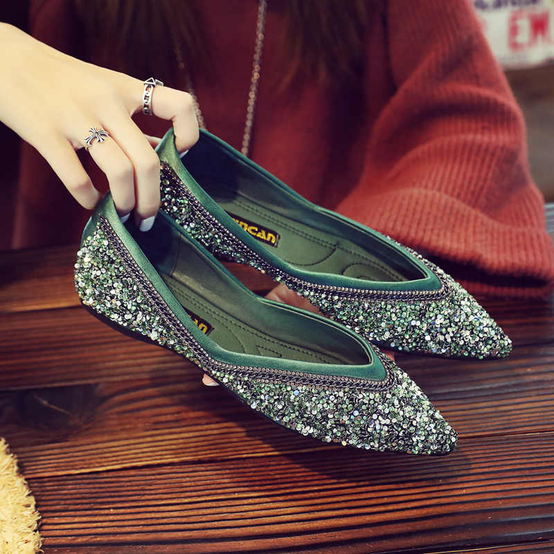 ... silver glitter ballet flats women pointed toe metal chains mules shoes  V open sequined espadrilles women 677789a3b866