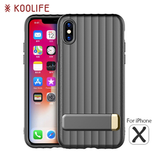 For iPhone X Case Luxury TPU+PC Kickstand Back Cover for Apple iPhoneX Cases KOOLIFE Brand Phone Plain Case for iPhone 10 Cover(China)