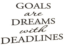 Goals Are Dreams With Deadlines wall decals vinyl stickers home decor living room wallpaper quote murals