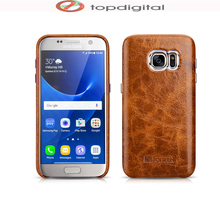 icarer TOP Genuine Leather Case for Samsung Galaxy S7 S7 edge Oil Wax Real Leather Back Cover Case Hardcase Coffee Brown(China)