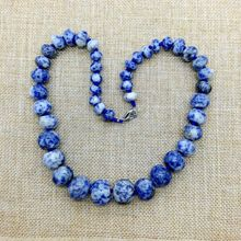 Natural Stone Bead Choker Necklace Blue Spot Stone Sodalite Beads Necklace 8-18 mm Beads Onyx Tiger Eye Fashion jewelry