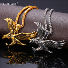 Collare Eagle Necklace Men Hawk 316L Stainless Steel American Sign Jewelry Gold Color Eagle Head Animal Hip-hop Pendant P188(China)