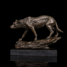 Arts Crafts Copper Real Bronze Figurine Vintage Brass Wolf Sculptures Statue With Marble Base For Antique Home Decoration