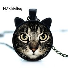 Mechanical Hot lucky Mug Cat eye Charm Necklace Print Lps Steampunk Petgrooming Squishy Tray Cartoon Pendant Necklace HZ2(China)
