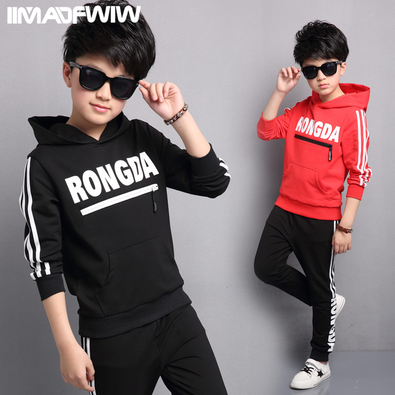 2017 new childrens clothing boys spring package large children spring sports two-piece Korean version of the tide<br>