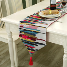 2017 Fashion Modern Colorful Stripes Table Runner Decorative Table Cloth with Tassels Cutwork Embroidered Table Runners  3 Size