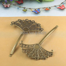55x29mm Blank Bobby Pins Bases Settings Hollow Flower pads Hair Clip Hairpins Crafts DIY Findings antique bronze tone
