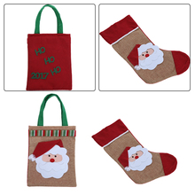 Christmas Stocking DIY Gift Bag 2017 New Design Christmas Tree Decoration Pendant Apple Candy Gift Bag Holder Accessories(China)