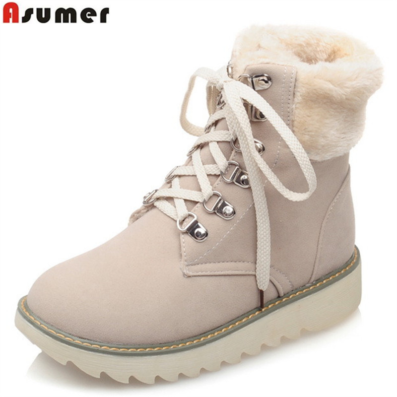 ASUMER 2017 hot sale new arrive women boots fashion lace up flock ankle boots simple comfortable autumn winter boots<br>