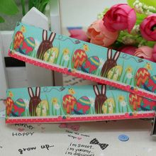 7/8'' Free shipping Easter rabbit egg printed grosgrain ribbon hairbow diy party decoration wholesale OEM 22mm P2003