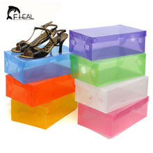 FHEAL DIY Folding Shoebox Clamshell Thicken Plastic Shoes Storage Boxes Transparent Boots Organize Colored Plastic Finishing Box