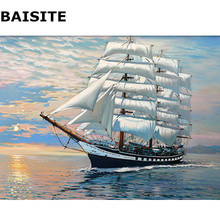 BAISITE Seascape DIY Oil Painting By Numbers On Canvas Frameless Modern Wall Pictures For Living Room Home Decor Wall Art H313(China)