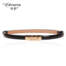 Korean version of the classic wild female gold tone Alloy Buckle Paint thin belt girdle belt female belts for women ladie's girl