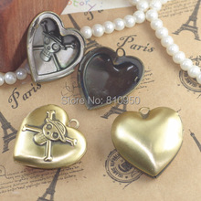 10pcs 34MM DIY Heart Necklaces Charms Pendant Copper Antique Bronze European style Prayer Craft Photo Frame Locket box(China)