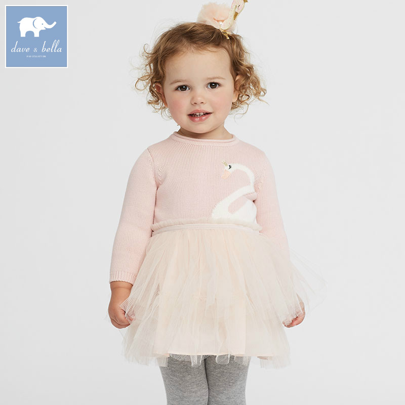 DB5560 dave bella autumn baby princess girl wedding birthday dress girls knitted sweater dress fashion swan children clothes <br>
