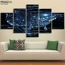 Wall Art Posters Home Decor Framed Canvas Pictures 5 Pieces Twinkling Sky Glitter World Map Landscape HD Printed Painting PENGDA(China)