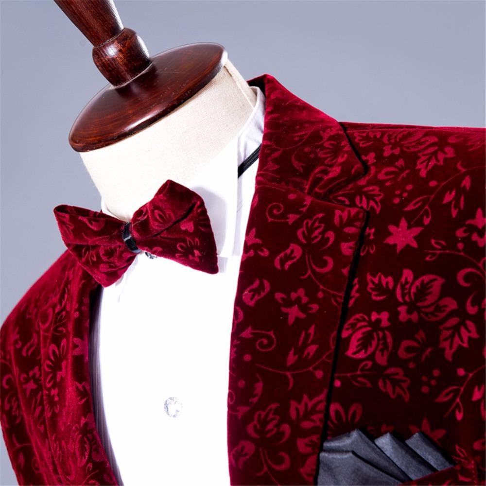 Suit burgundy floral blazer (4)