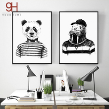 Hand draw Animals Canvas Art Print Poster, Panda And Hippo Set Wall Pictures for Home Decoration, Giclee Wall Decor Cm036(China)