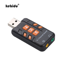 kebidu 8.1 Channel Virtual CH 3D Audio Adapter USB Sound Card Amplifier ABS Plastic Sound Cards for PC Computer Black(China)