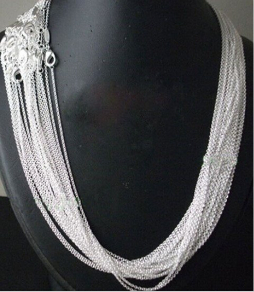"10pcs/lot Promotion! wholesale 925 sterling silver necklace, silver fashion jewelry Rolo Chain 1mm Necklace 16 18 20 22 24""(China)"