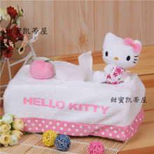 New Pink Red Hello Kitty Tissue Cover Rectangle Home Car Using Tissue Pumping Sets Cartoon Tissue Box Tissue Paper Storage Box