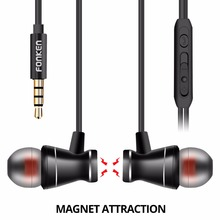 FONKEN In-Ear Earphone Metal Magnetic Earbuds With Microphone 3.5mm in ear Earpiece Hands-free Volume Control for Mobile phone(China)