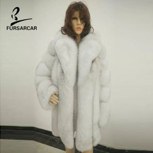 Buy FURSARCAR Women Real Fox Fur Coat 75cm Long Genuine Leather Striped C Female Fox Fur Winter Warm Real Fur Long Waistcoat for $931.66 in AliExpress store