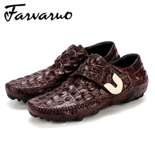 Farvarwo Mens Slip Dress Shoes Genuine Leather Crocodile Loafer Summer Breathable Men Flats Driving Casual Shoes High Quality