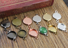 10mm 20pcs Brass Material 6 Colors Plated Double hanging Style Cameo Setting Base Cabochon Setting Connector High Quality