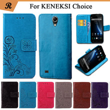 Newest For KENEKSI Choice Factory Price Luxury Cool Printed Flower 100% Special PU Leather Flip case with strap(China)