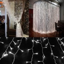 Wholesale 220V 4*0.6M 144leds Led Icicle Curtain Lights for Xmas Decoration Christmas Led String Waterproof Free Shipping xx(China)