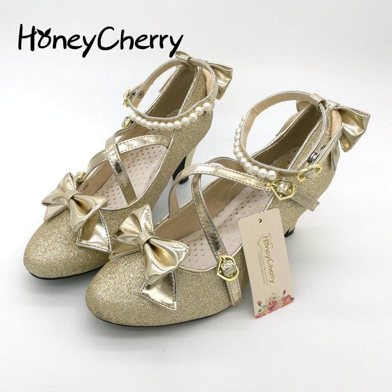 Plum small liner genuine leather cross-strap pumps Princess bow lolita shoes gold silver shoes Shining womens shoes<br>
