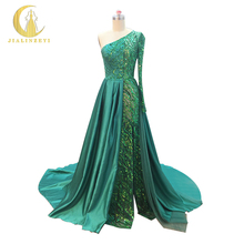 JIALINZEYI New Sexy One Shoulder Green Sequins Satin Train High Zuhair Murad Party Formal Dresses  Evening Dresses 2017