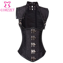 Black Brocade Collared Top Cupless Sexy Corset Vest Steampunk Corset Underbust Gothic Clothing Corsets and Bustiers Steel Boned(China)