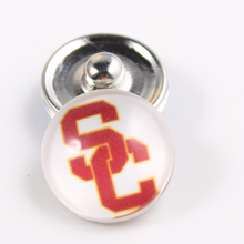 USC Trojans 18mm Snap Button Fit Ginger Snap Bracelet Bangles NCAA Football Baseball Series Jewelry 10PCS