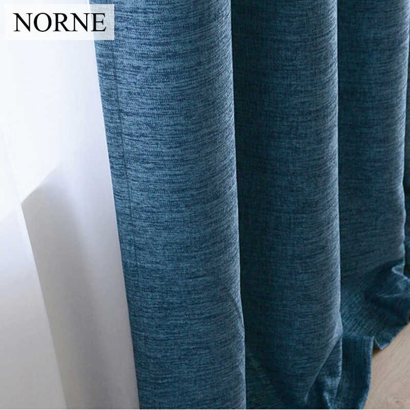 NORNE Faux Linen 80%-85% Shading Rate Modern Style Solid Color Blackout Curtain For Living Room Bedroom Door Window Custom Made