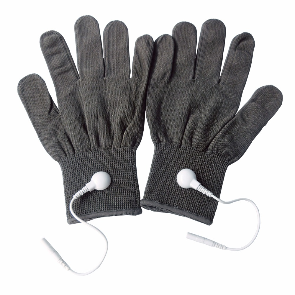 5 Pairs/Pack Conductive Massage Gloves physiotherapy electrotherapy electrode Gloves Deep Gray<br>